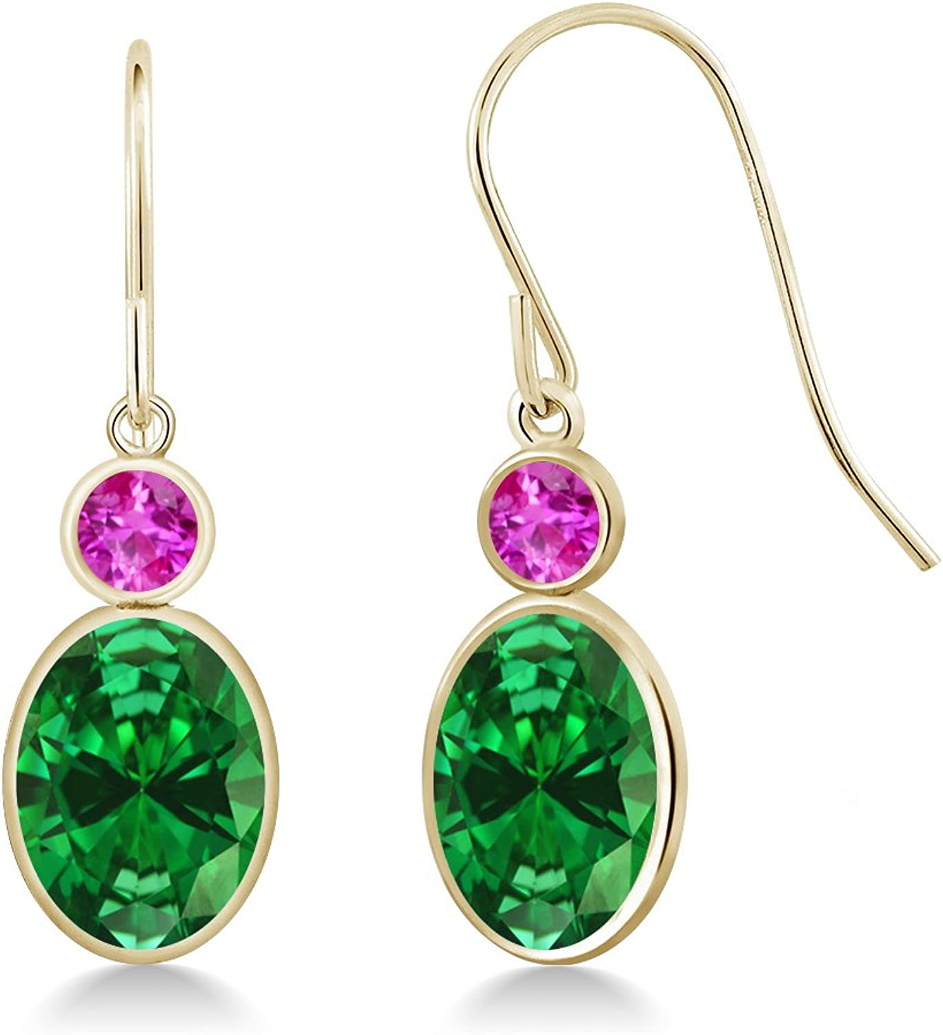 4.46 Ct Oval Green Simulated Emerald Pink Sapphire 14K Yellow gold Earrings