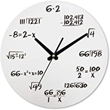 Wall Clock TONGDAUAE Living Room Creative Math Function Wall Clock Wood Mute Movement Non-ticking Children's Room Wall Clock 29.5x29.5cm (Color : White)