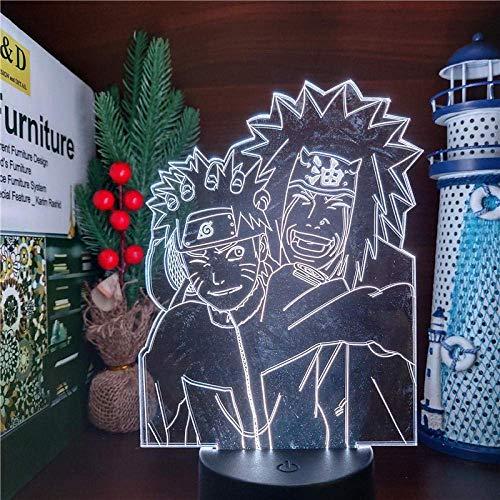 Amin luz nocturna Naruto lámpara acrílica 3D Uzumaki Naruto Jiraiya cool manga luz nocturna para niños dormitorio decoración lámpara de mesa presente