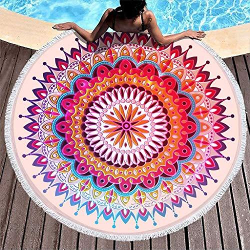 AEMAPE Mandala Lotus - Toalla de Playa Redonda, Grande, de Microfibra, para Nadar, de Secado rápido, Ligera, Manta de Playa con borlas, para Viajes, Piscina, Color Blanco, 59 Pulgadas