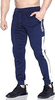 BROKIG Mens Jogging Pants Workout Running Joggers White Side Sweatpants with Zipper Pocket
