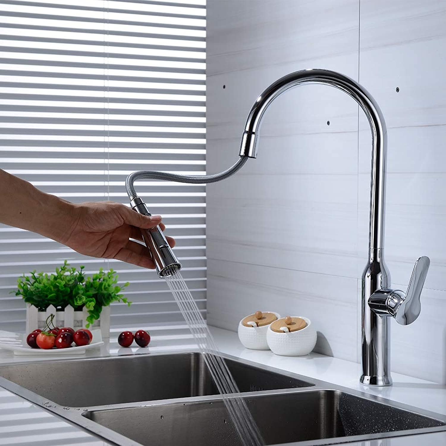 Mixing Faucet Pulls The Kitchen Sink, Hot and Cold Dual Function Bubbler Switch Sink, Full Copper Chrome