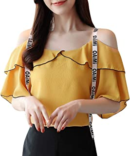 Ximandi Women Summer Fashion Strap Off Shoulder Short Sleeve Ruffled Top Blouse Casual Korean Style Tops