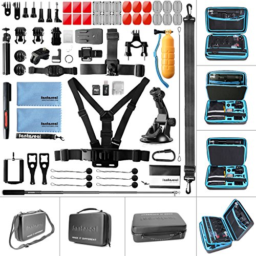 Ultimate 70in1 Action Sports Waterproof Camera Accessories Kit Combo Pack Mounts Bundle Set Starter Suit w/Hi Capacity Dual-Layer Anti-Impact Hand Bag for GoPro DJI Action Sony Yi AKASO