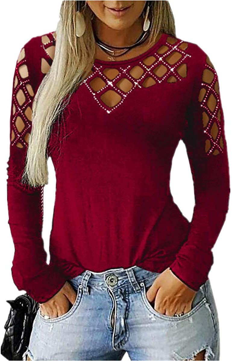 Women's Fall Tops Hollow Out Cold Shoulder V Neck Elegant Solid Long Sleeve Shirt Casual Blouse Tunic Tee