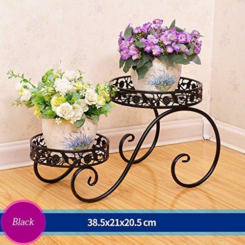 Escalier à fleurs en fer Canapé à fleurs Salon en plein air Balcon Porte-fleurs (38,5 * 21 * 20,5 cm) (Couleur : Noir)