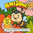 Awesome Jumbo Coloring Book for Kids: 50 Large Animal Coloring Pages (Animal Coloring Book) (Volume 14)