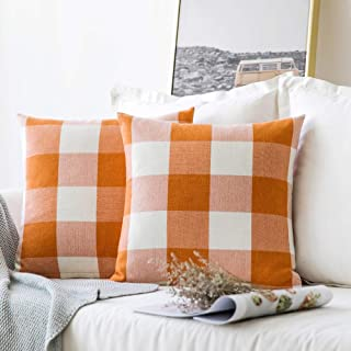 MIULEE Pack of 2 Classic Retro Checkers Plaids Cotton Linen Soft Solid Orange and White Decorative Throw Pillow Covers Home Decor Design Cushion Case for Sofa Bedroom Car 16 x 16 Inch 40 x 40 cm