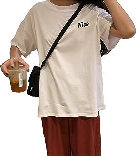 レディース半袖Tシャツルーズレタープリント半袖Tシャツバックイングリッシュプリント半袖ネイビー半袖トップ可愛い旅行 出かけ 部屋着 快適 上品 通勤 通学 普段着 4色