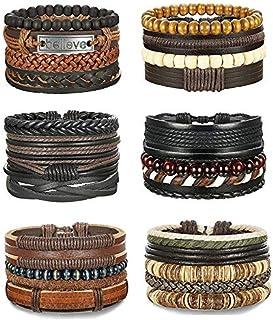 Finrezio 14 Pcs Bracelet Cuir Tress/é et Perle du Bois Bracelets Lave pour Hommes Femmes Manchette Bracelet R/églable Noir//Marron