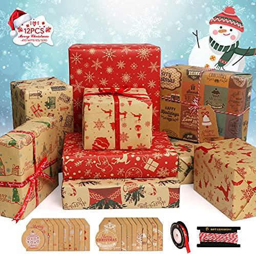 Etiquetas Regalo Papel Kraft Navidad Marca Telgoner