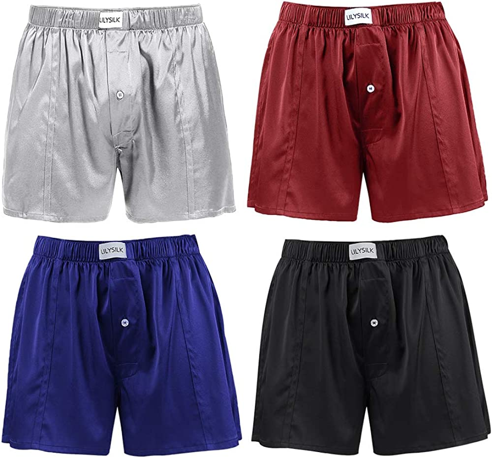 LilySilk Silk Boxers Mens Breathable Real Mulberry Underwear 6A Grade Royal Shorts Combo Pack, Silk Sleep Lounge Bottoms