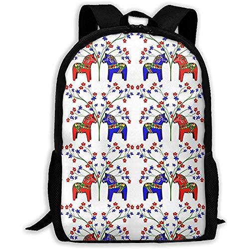 Leichte Schultertasche,Laptop-Rucksack,College School Bookbag,Vielseitiger Outdoor-Tagesrucksack,Lässiger Wasserdichter Rucksack,Floral Schwedische Dala Pferde