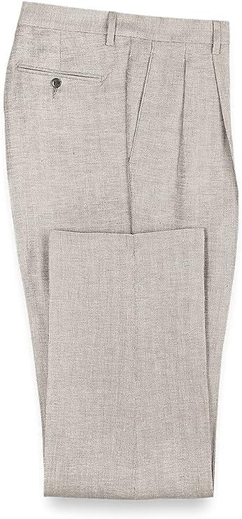1950s Men's Pants, Trousers, Shorts | Rockabilly Jeans, Greaser Styles Paul Fredrick Mens Linen Herringbone Pleated Pants  AT vintagedancer.com