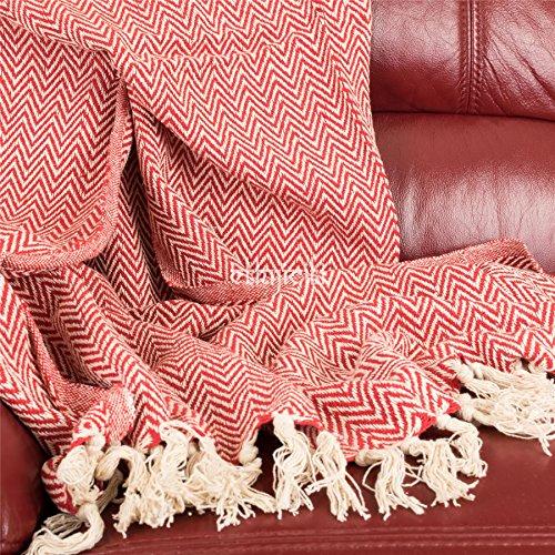 Fair Trade Indien, recycelte Baumwolle, gewebtes Fischgräten-Chevron-Muster, Sofa, Sessel, Tagesdecke mit Fransen, Decke, Überwurf 125x 150cm–Schokoladenbraun rot