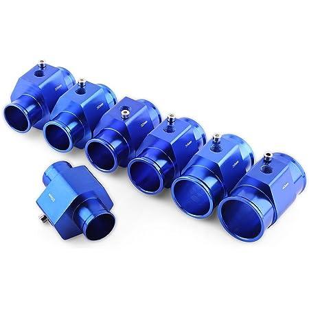 Qiilu Wassertemperatur Verbindungsrohr 26mm Universal Metall Auto Wassertemperatur Joint Rohr Schlauch Temperatursensor Adapter Blau Auto
