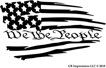 UR Impressions MBlk Tattered American Flag - We The People Decal Vinyl Sticker Graphics for Cars Trucks SUV Vans Walls Windows Laptop|Matte Black|7.5 X 4.2 inch|URI610