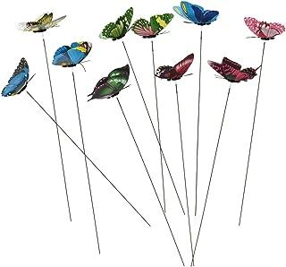 DatingDay 10 Pack Colourful Garden Butterflies On Sticks Miniature Fairy Garden Decoration