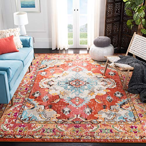 Safavieh Monaco Collection MNC243H Bohemian Chic Medallion Distressed Area Rug, 8