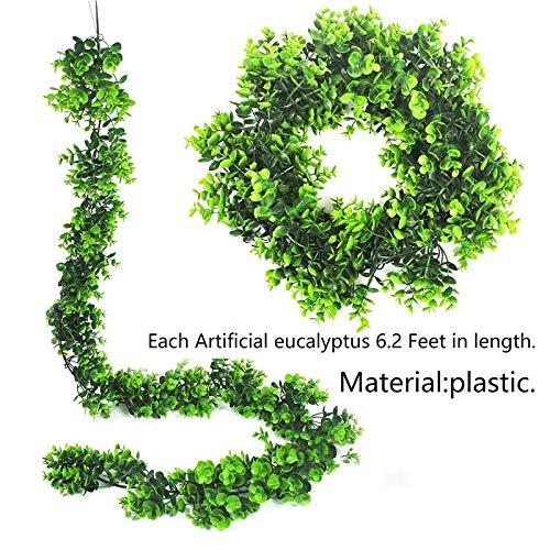 anruo kunstmatige wijnstokken 6.2 Ft nep eucalyptus laat slinger opknoping wijnstok groen buxus twijgen voor binnen outdoor bruiloft Backd