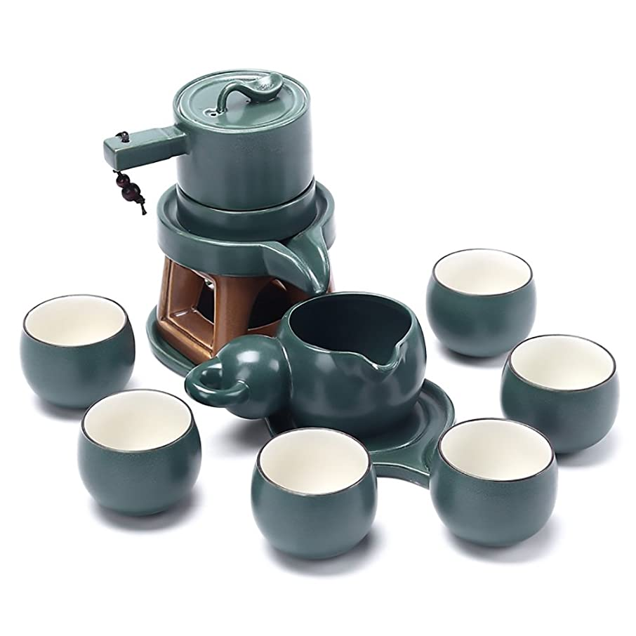 Chinese Ceramic Gongfu Tea Set Service Automatic Handmade Stone-Mill Design Porcelain Tea Pot W/6 Cups Japanese Kung Fu Tea Gift for Adults Men Women Tea Ceremony Party Home Office Decor Collection