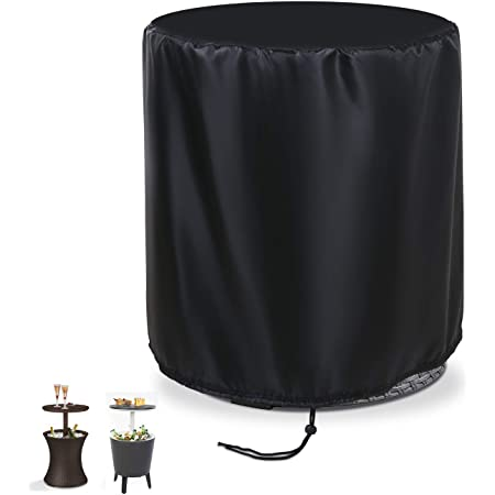 """TheElves Patio Cooler Bar Table Cover Design for Keter 7.5-Gal Cool Bar Table, Outdoor Patio Round Beer Cooler Table Cover, Waterproof Barrel Cool Bar Table Cover, 21"""" D X 23"""" H, Black"""