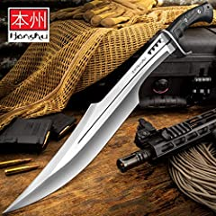 """An innovative reimagining of an ancient weapon, this sword is an exceptional addition to Honshu's rock-solid tactical line It has a full-tang, 16 1/2"""" 7Cr13 stainless steel blade, which features a blood groove and weight-reducing thru-holes in the sp..."""