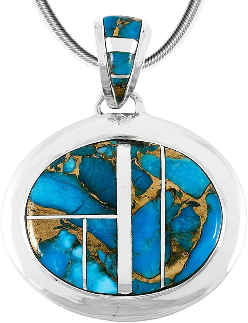 Turquoise Necklace Pendant 925 Sterling Silver Genuine Gemstones