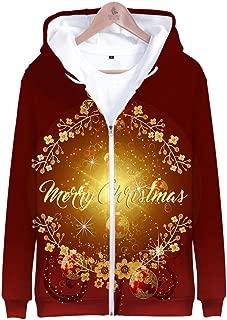 GREFER Unisex Christmas Casual Loose Full Zipper Hoodies Coat Stylish Plus Size Lightweight Sweatshirts Party Outwear