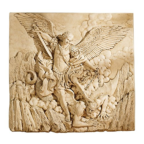 Design Toscano NG33581 St. Michael the Archangel Sculptural Wall Frieze in Stone,gothic stone