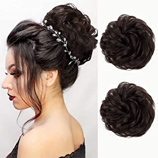100% Human Hair Messy Bun Extensions 2PCS Curly Wavy Messy Scrunchies Hair Extension Elegant Chignons Wedding Hair Piece for Women and Kids(Color:Natural Color)