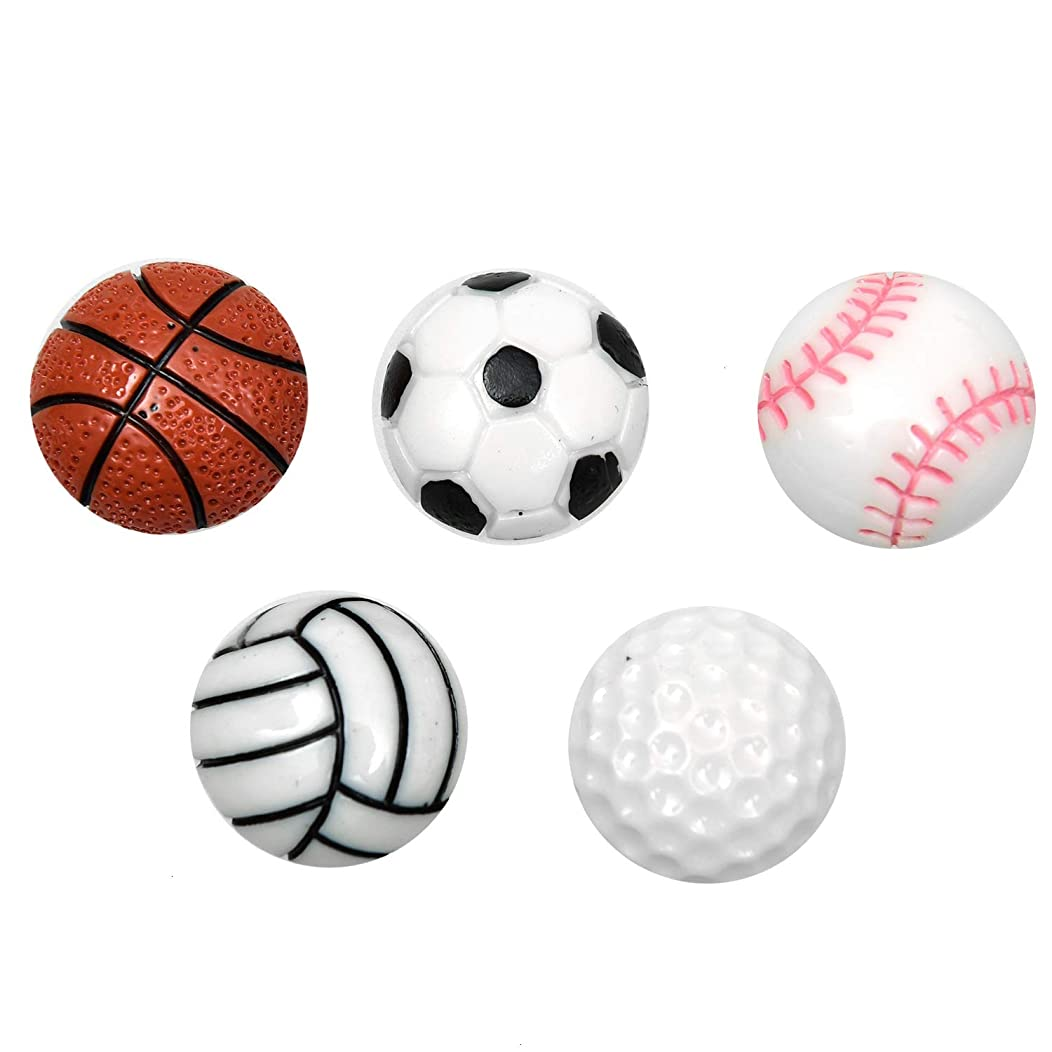 Monrocco 30Pcs Mixed Sports Ball Resin Cabochons Embellishments, Flat Back Rasin Charms for Slime,Scrapbooking Craft Art DIY