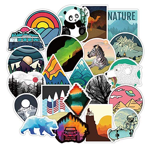 100Pcs Outdoor Landscape Stickers for Laptops, Travel Scenery Sticker for Car Bumper Bicycle Motorcycle Luggage Laptop Skateboard Snowboard Water Bottle, Nature Decals Graffiti Stickers Gift Choice