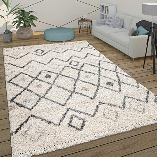 Alfombra Pelo Largo Shaggy Salón Diseño Escandinavo Rombos Moderno Beige, tamaño:80x150 cm