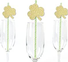 Gold Glitter Shamrocks Party Straws - No-Mess Real Gold Glitter Cut-Outs & Decorative St. Patrick`s Day Party Paper Straws - Set of 24