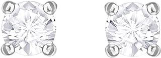 Swarovski Attract Round Pierced Earrings, White, Rhodium plating