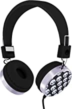 RockPapa Over Ear Stereo Wired Skull Headphones Earphones Adjustable for Kids Childrens Boys Girls Teens Adults (3.5mm Jack) Black