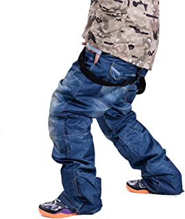 SAENSHING Mens Snowboard Pants Ski Snowboard Denim Pants Jeans Warm Waterproof Windproof Snow Pants for Skiing