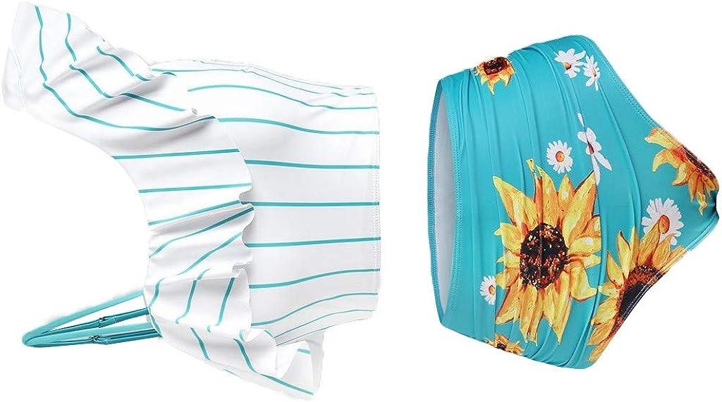 Mlide Ranking TOP16 Womens Two Max 44% OFF Piece Swimsuit Bikin Waist Print High Sunflower