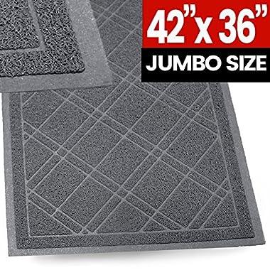 SlipToGrip - (Gray) Universal Plaid Door Mat with DuraLoop - XL 42 x36  Outdoor Indoor Entrance Doormat - Waterproof - Low Profile Door Mat - Welcome - Front Door, Garage, Patio - PHTHALATE & BPA FREE