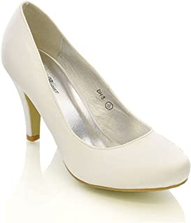 73dabd06cd WOMENS WEDDING MID HEEL LADIES BRIDAL WHITE IVORY PARTY PROM HEELS COURT  SHOES SIZE 3 4