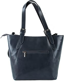 Lederbags Leder Handtasche in Dunkelgrau - Lederhandtasche italienischer Stil Dunkelgrau Leder Damentasche