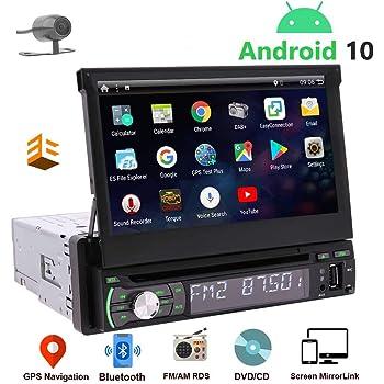 EINCAR Autoradio 1 Din GPS Bluetooth-Android 10 avec Ecran Retractable Tactile& Camera De Recul Auto Radio Voirure DVD CD-Poste Autoradio-2G+32G USB Carplay