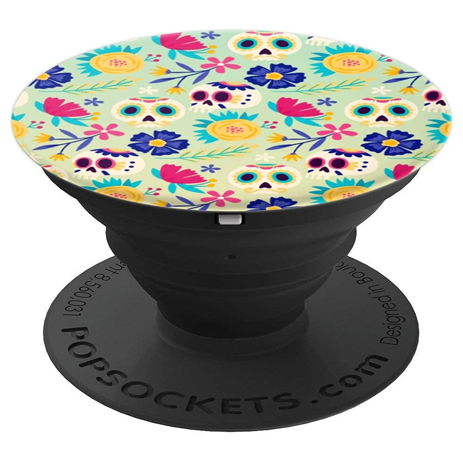 Sugar Skull Calavera Gift for Mexican Skull Floral Art Lover - PopSockets Grip and Stand for Phones and Tablets
