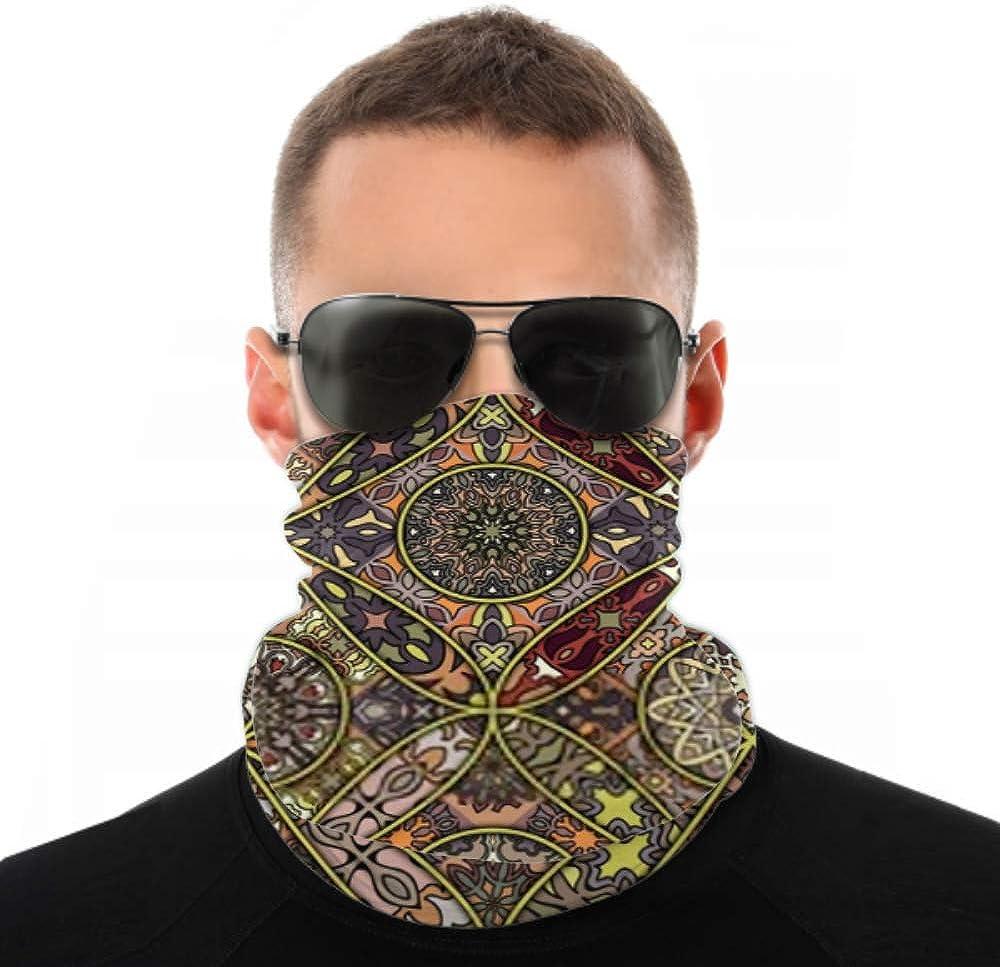 Headbands For Men Women Neck Gaiter, Face Mask, Headband, Scarf Colorful Vintage Seamless Pattern Floral Mandala Turban Multi Scarf Double Sided Print Elastic Headbands Bulk For Sport Outdoor