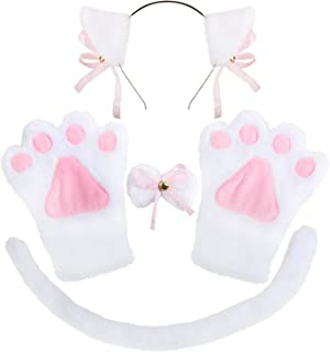 Cat Cosplay Costume Accessories for Girls Ears Tail Collar Paws Set for Adult and Child Halloween Dress Up