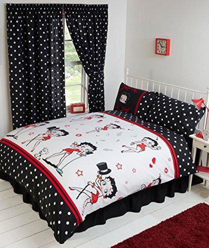 Parure de lit simple Betty Boop avec housse de couette entièrement réversible motif à pois avec Betty Boop notes de musique cœurs clin d'œil baiser petit chien noir couleurs rouge blanc