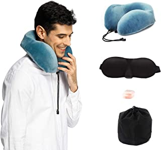 Cinlinso Travel Pillow, Memory Foam Supports The Head, Neck and Chin in in Any Sitting Position Easy to Carry Bag to Save Space,Ear Plugs and Eye Mask