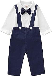 Baby Boys Formal Outfits Set Gentleman Bowtie Long Sleeve Romper+Overalls Bib Pants Suspender Tuxedo Clothes