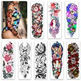 Sleeve Tattoo Temporary for Women Teen Girls and kids,8 Sheets Full Arm Leg Temporary Tattoo Flowers,Waterproof and Long-Lasting Body Art Realistic Fake Tattoos